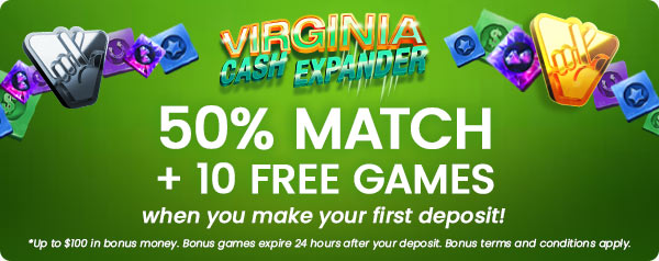 Get a 50% Match up to $100 + 10 Free Games when you make your first deposit!